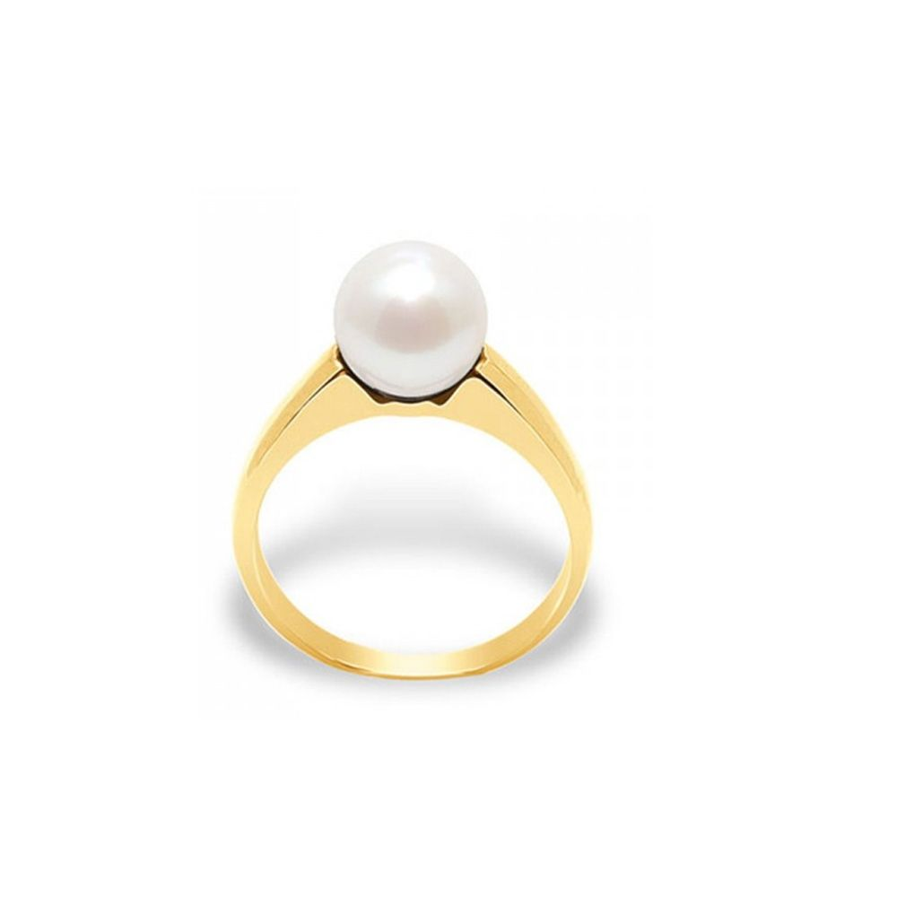 White Freshwater Pearl Ring and Yellow Gold 375/1000