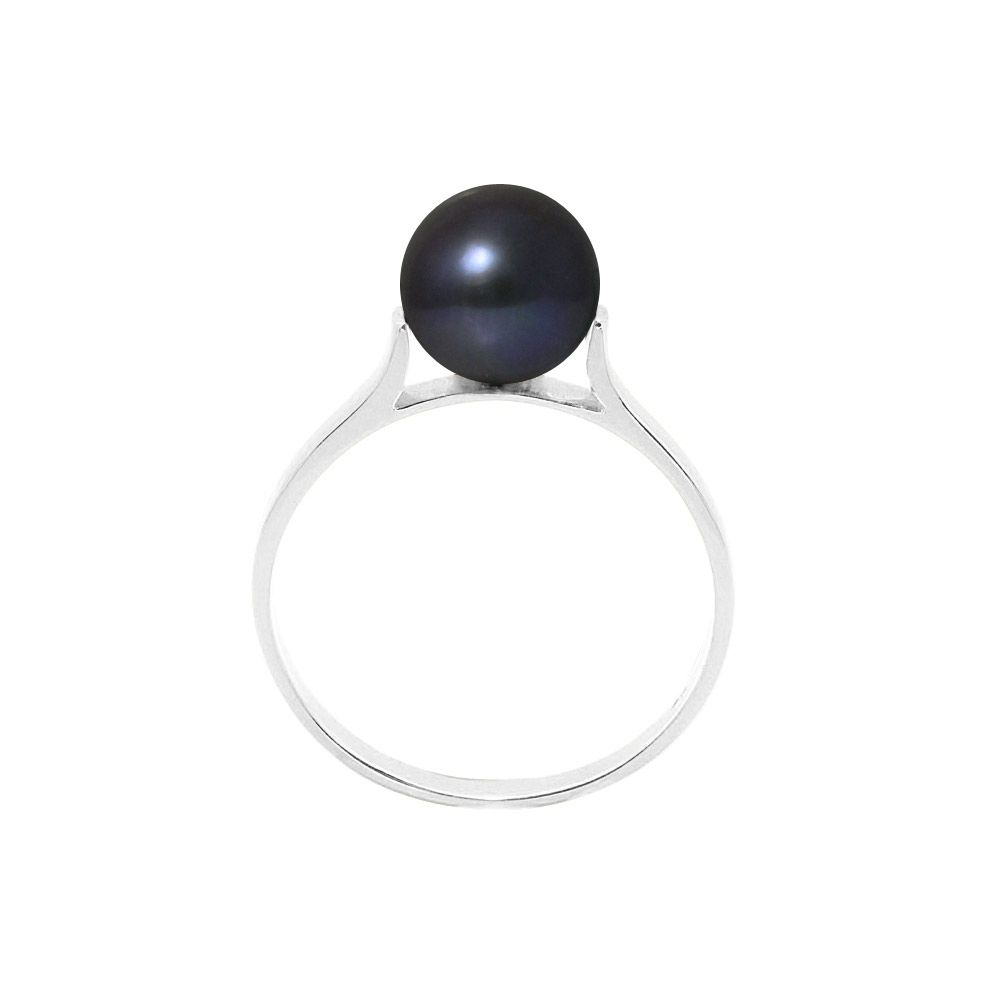 7-8 mm Black Freshwater Pearl Ring and 925 Silver