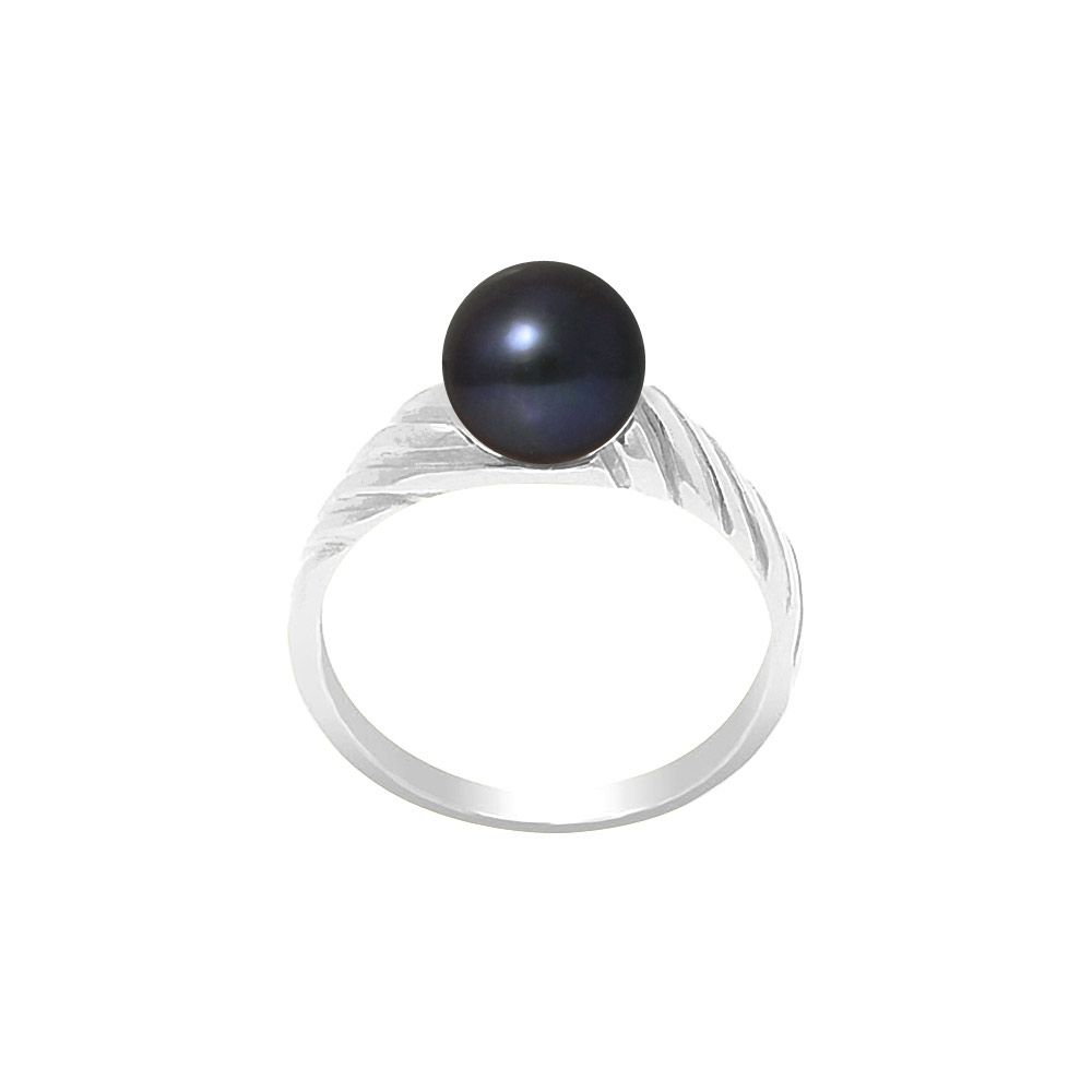7-8 mm Black Freshwater Pearl Ring and 925/1000 Silver