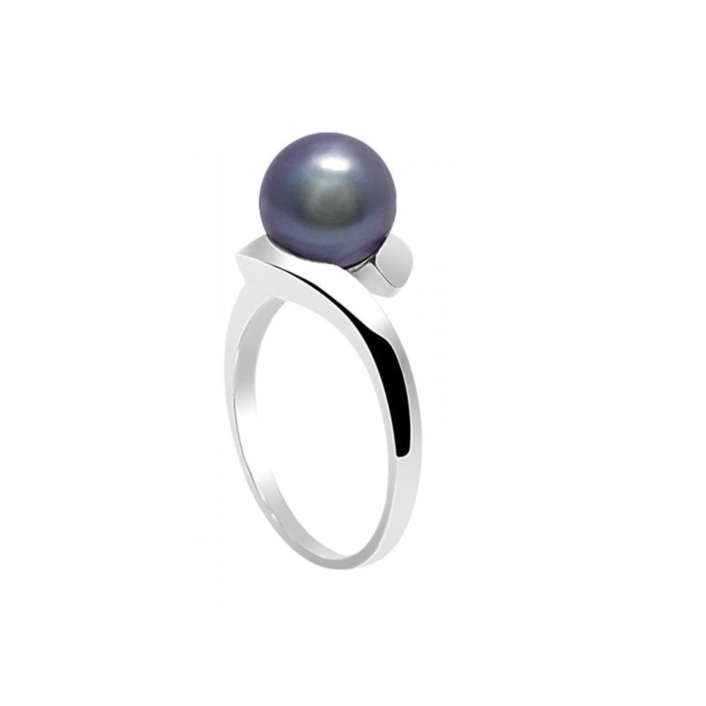 Black Freshwater Pearl Ring and 925 Silver