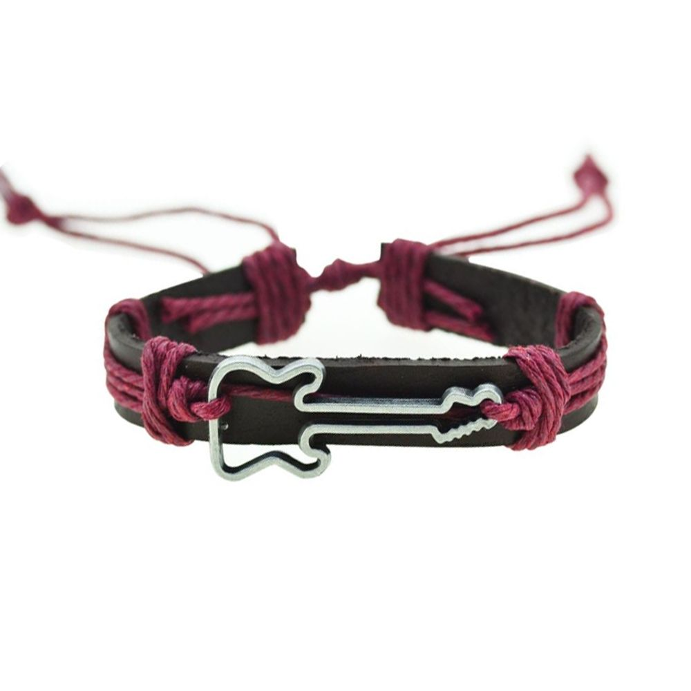 Brown Leather, Red Cordon and Stainless Turtle Man Bracelet