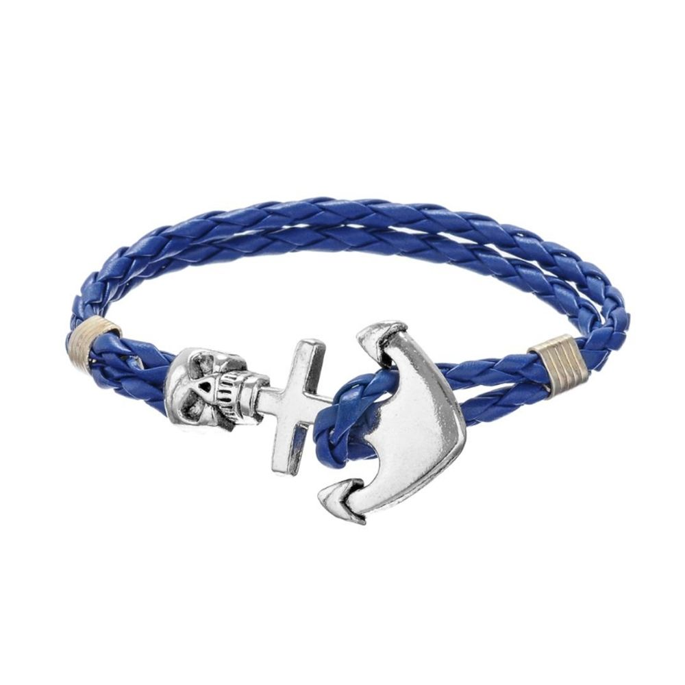 Blue Braided Leather Anchor and Skull Stainless Steel Man Bracelet