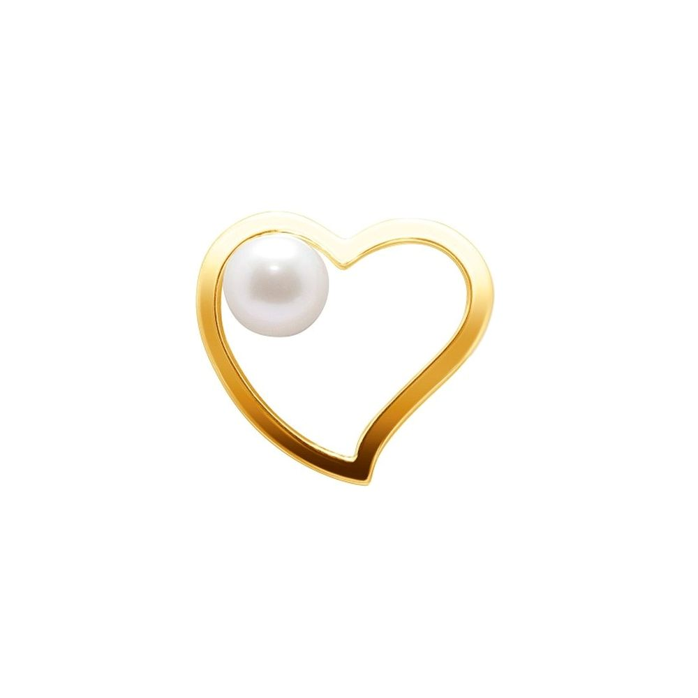 White Freshwater Pearl Heart Pendant and Yellow Gold 750/1000