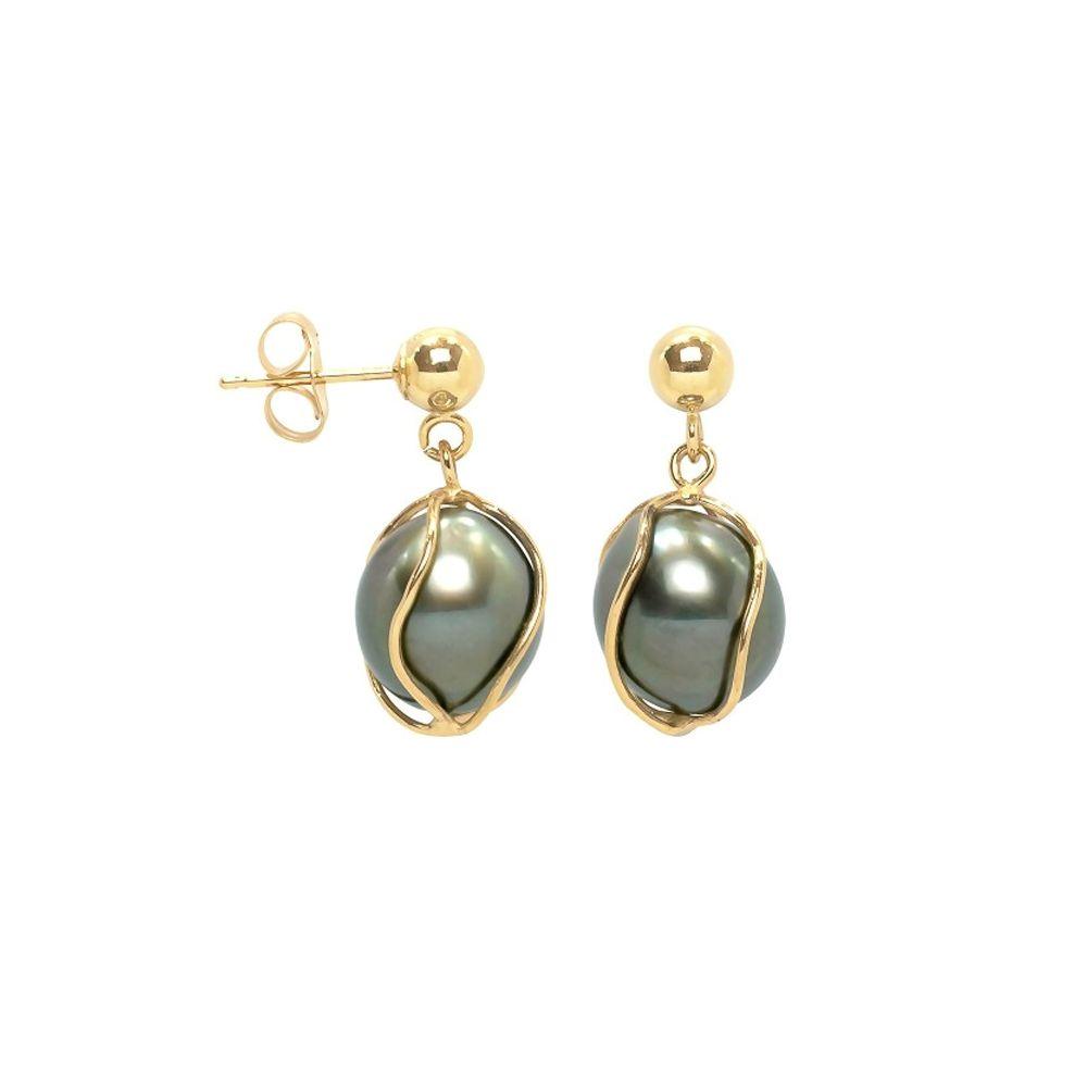 Black Tahitian Pearl Earrings and yellow gold 750/1000