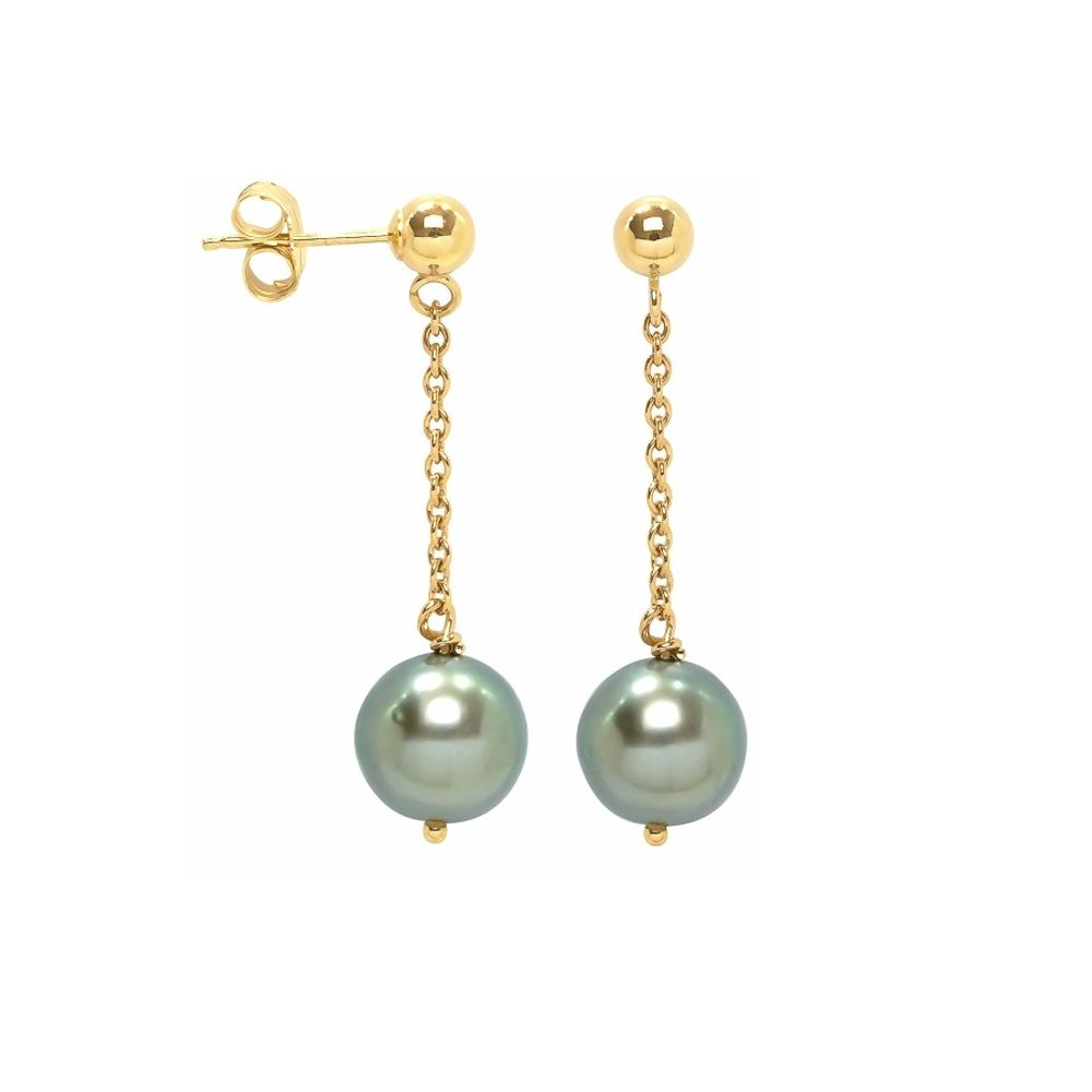 Black Tahitian Pearl Dangling Earrings and yellow gold 750/1000