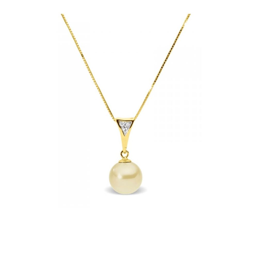 Gold Freshwater Pearl and Diamonds Pendant and Yellow Gold 375/1000