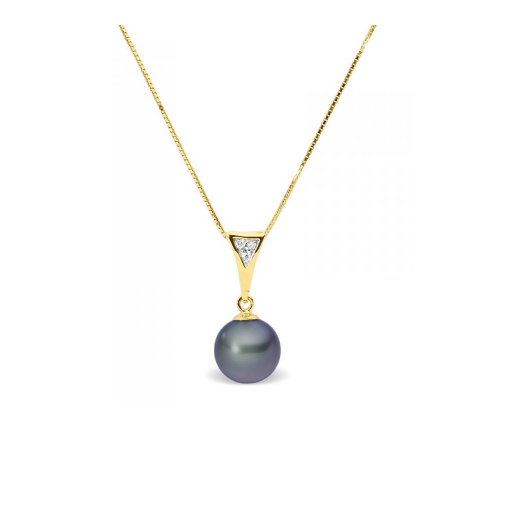 Black Freshwater Pearl and Diamonds Pendant and Yellow Gold 375/1000