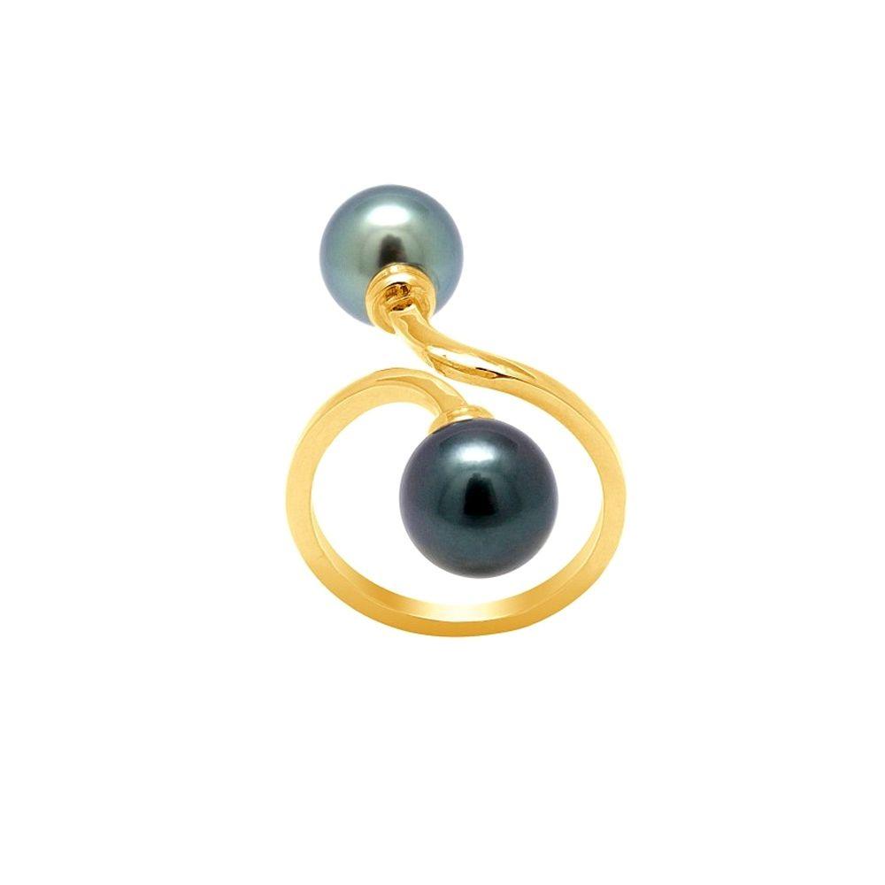 Black Tahitian Pearls Ring and Yellow Gold 750/1000