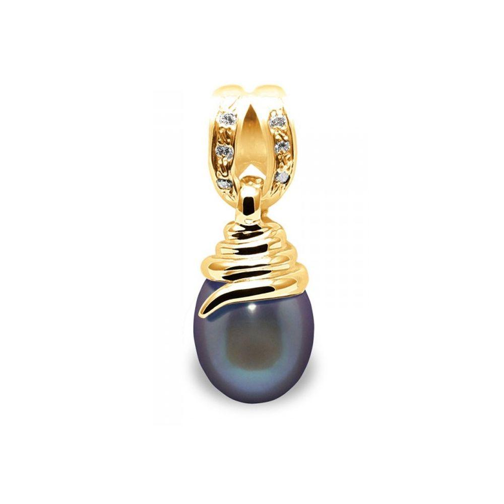 Black Freshwater Pearl, Diamonds Pendant and Yellow Gold 750/1000