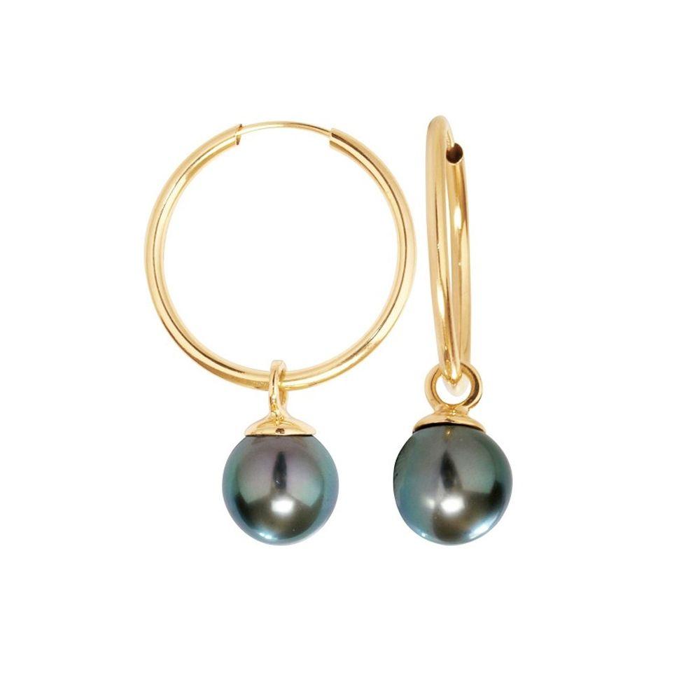 Black Tahiti Pearls Hoop Earrings and Yellow Gold 750/1000