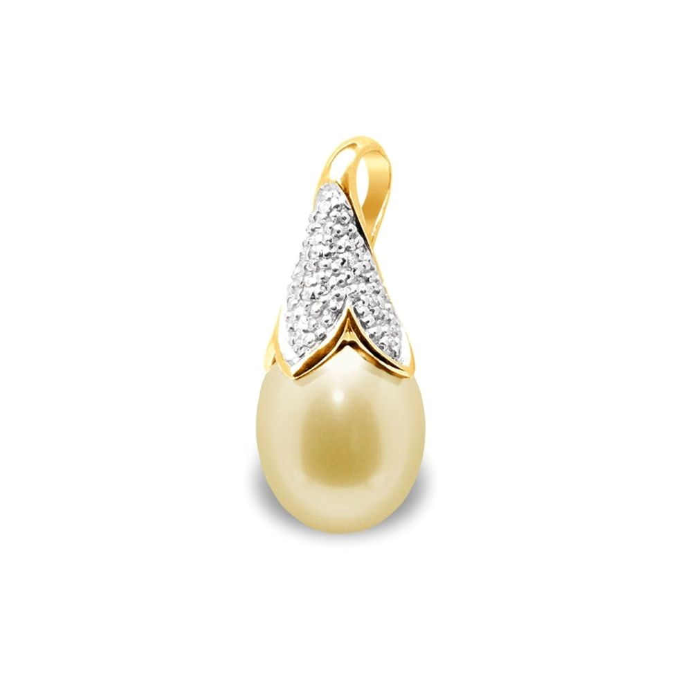 Gold Freshwater Pearl, Diamonds Pendant and Yellow Gold 750/1000