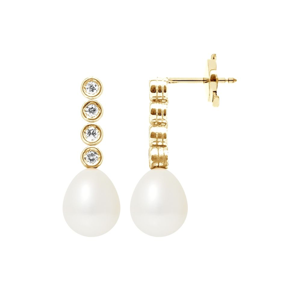 White Freshwater Pearls, Diamonds Dangling Earrings and yellow gold 750/1000