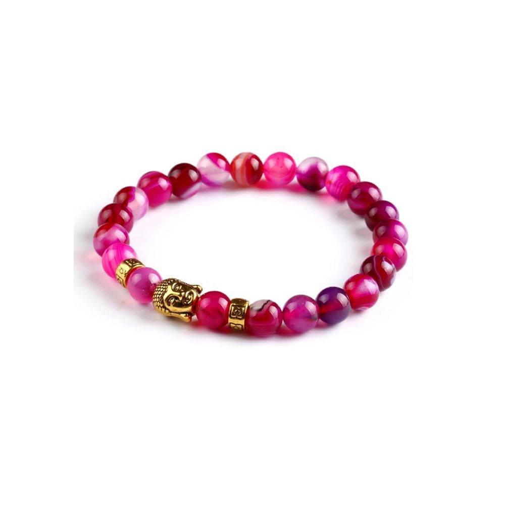 Pink Natural Stones Stretch Bracelet and Gold Buddha Head