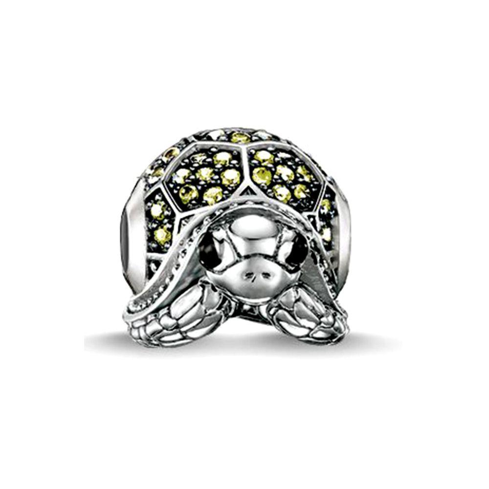Green Crystal Turtle Charms Bead
