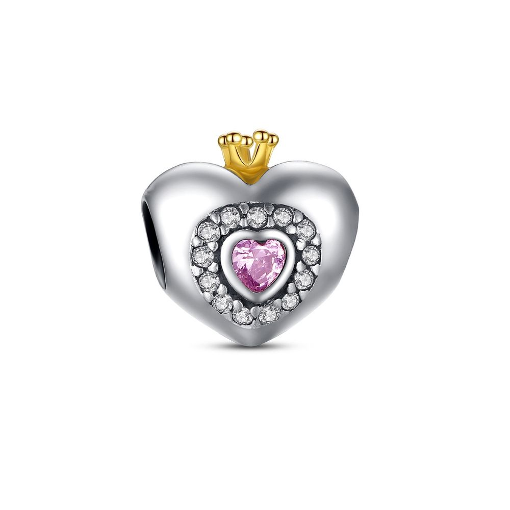 925 Silver Heart Charms Bead and Pink Crystal