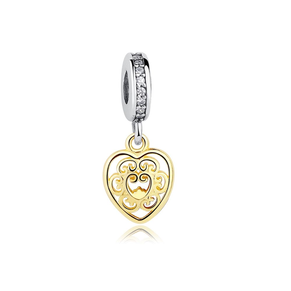 Charms Bead Pendant Heart in Silver 925