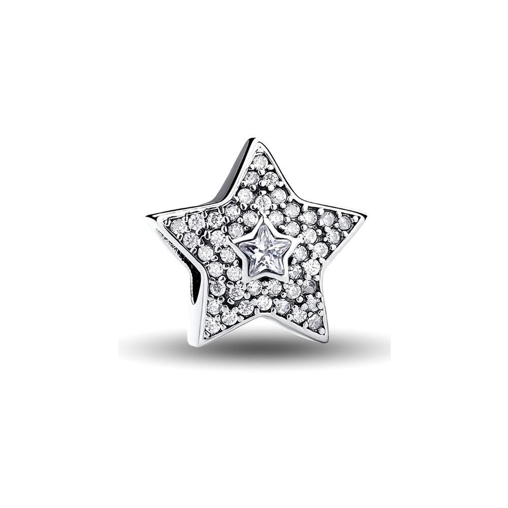 White Crystal Star 925 Silver Beads