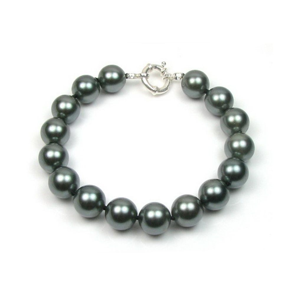 Black Simulated Pearls in mother of pearl Bracelet and Silver 925