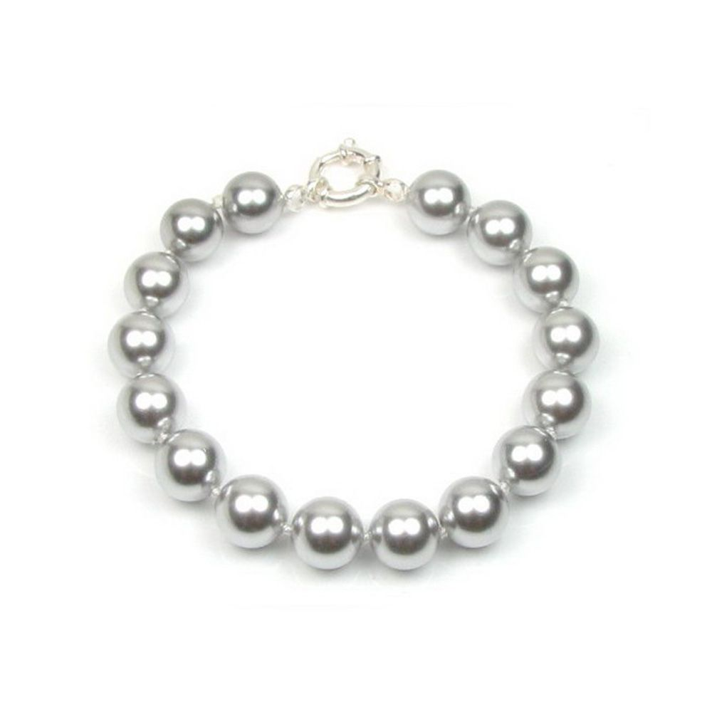Grey Simulated Pearls in mother of pearls Bracelet and Silver 925