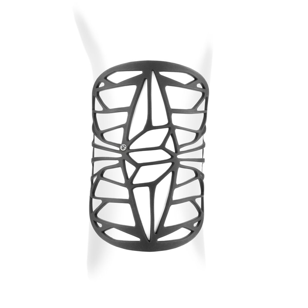 Black Silicone Gum Design Cuff Bracelet Effect Tatto