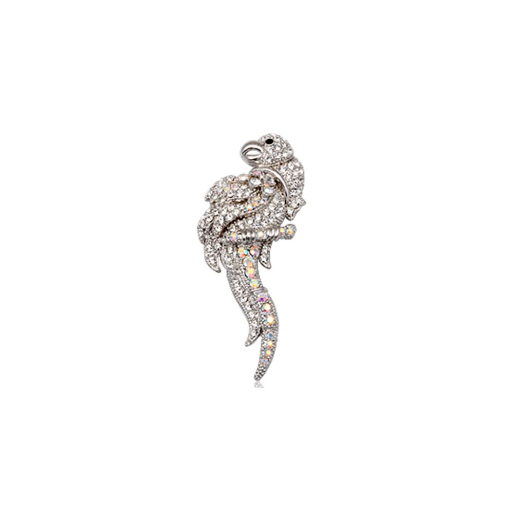 White Crystal Parrot Brooch and Rhodium plated