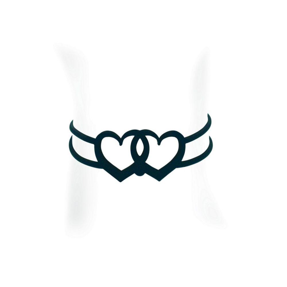 Black Silicone Gum Hearts Bracelet Effect Tatto