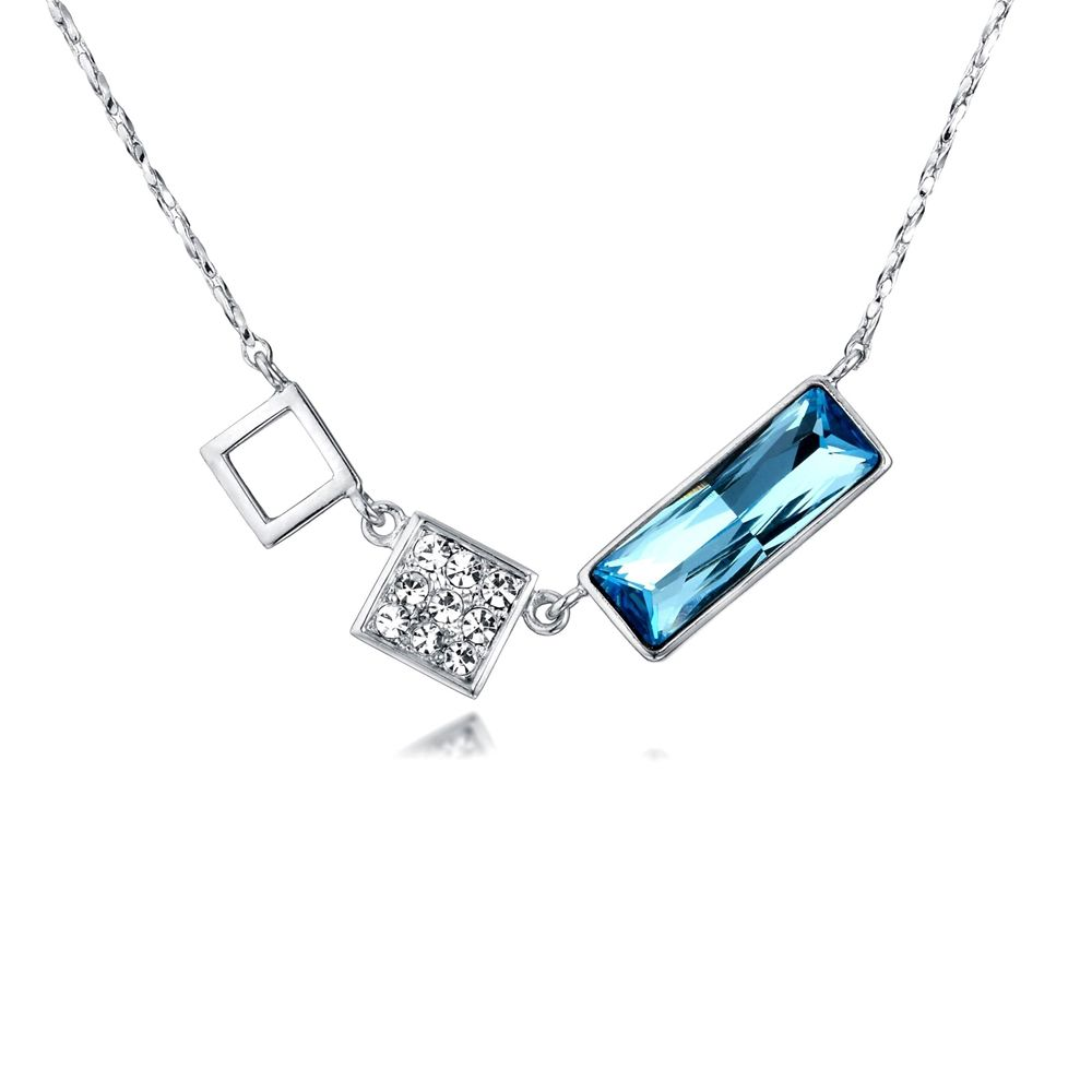 Swarovski - Blue and White Swarovski Crystal Elements Necklace