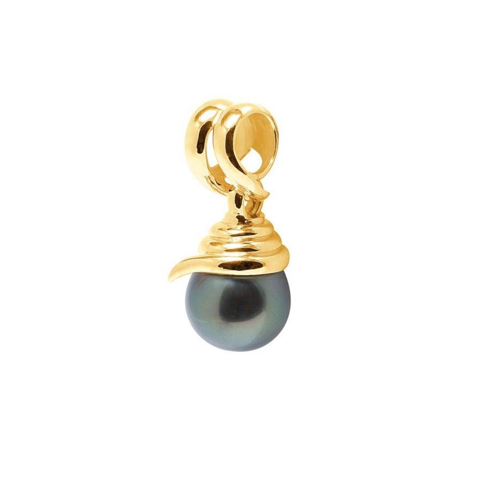 Black Tahitian Pearl Pendant and Yellow Gold 750/1000