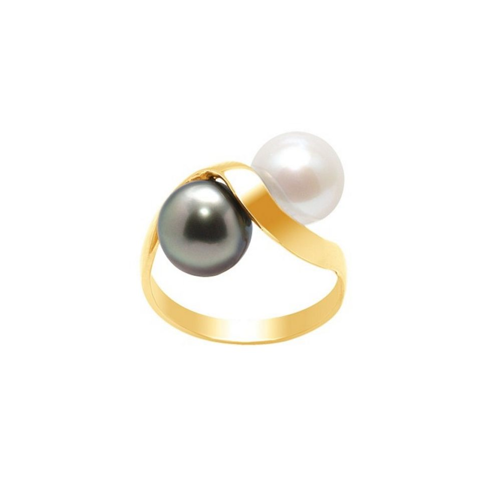 White Pearl and Black Tahitian Pearl Ring and Yellow Gold 750/1000
