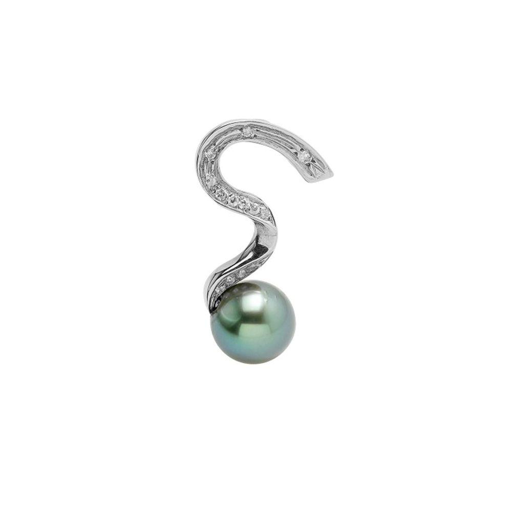 Black Tahitian Pearl, Diamonds Pendant and Sterling Silver 925/1000