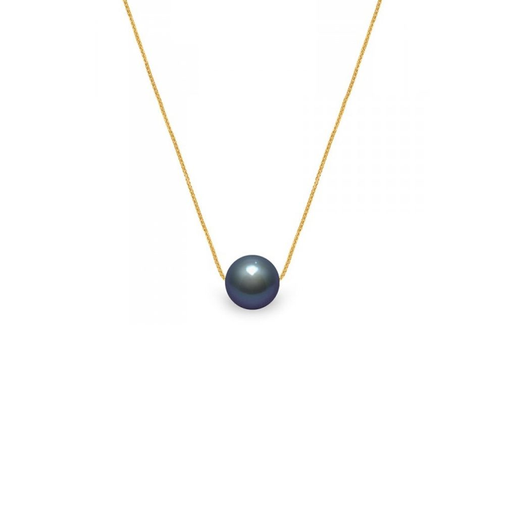 750/1000 yellow gold Venitian Chain and Black Freshwater Cultured Pearl Woman Choker Necklace