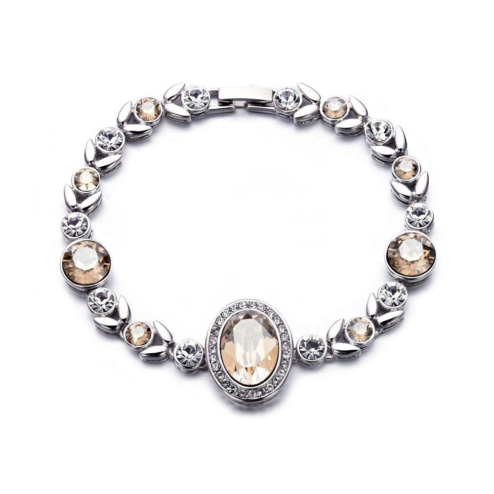 Swarovski - White and Champagne Swarovski Crystal Elements Bracelet