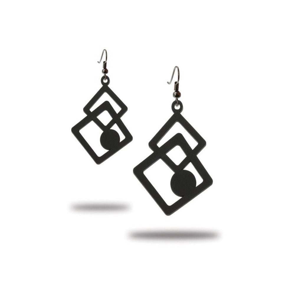 Black Silicone Gum Geometric Dangling Earrings