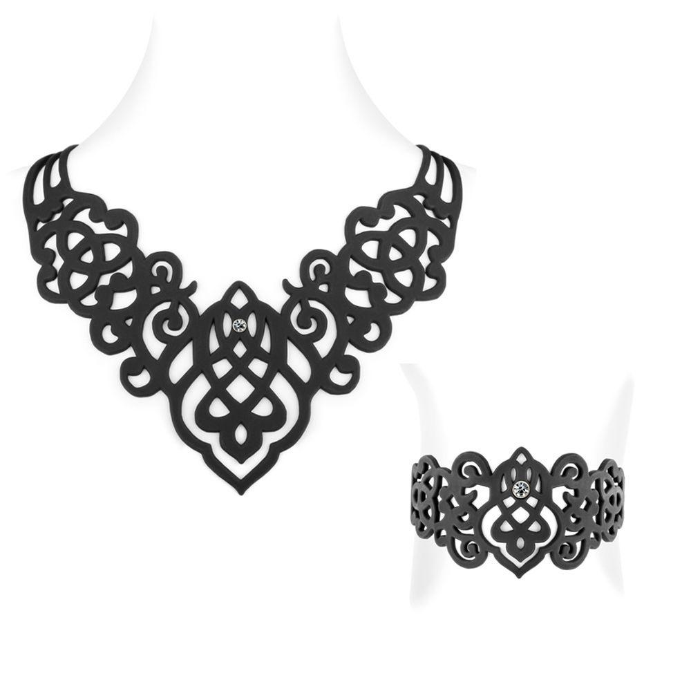 Black Silicone Gum Arabesque Necklace and Bracelet Effect Tatto