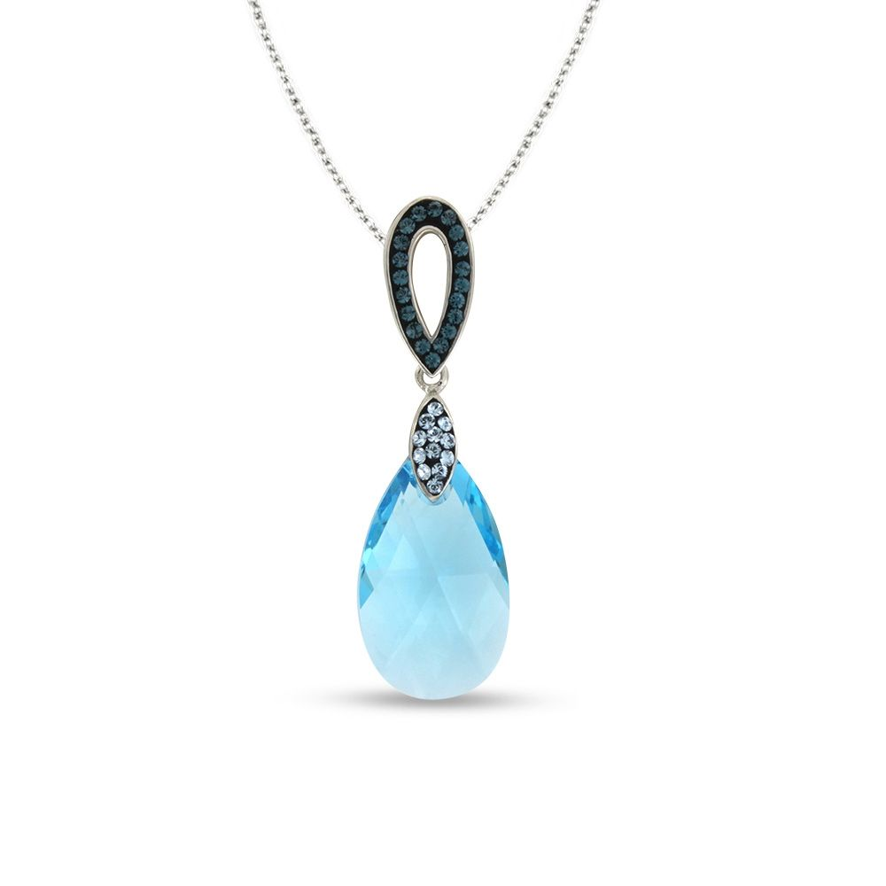 Swarovski - Blue Swarovski Elements Crystal and 925 Silver Pendant