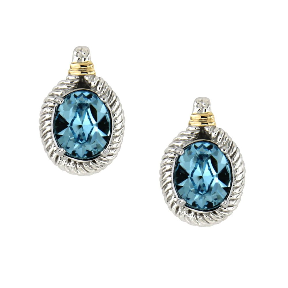 Swarovski - Blue Swarovski Elements Crystal and 925 Silver Earrings