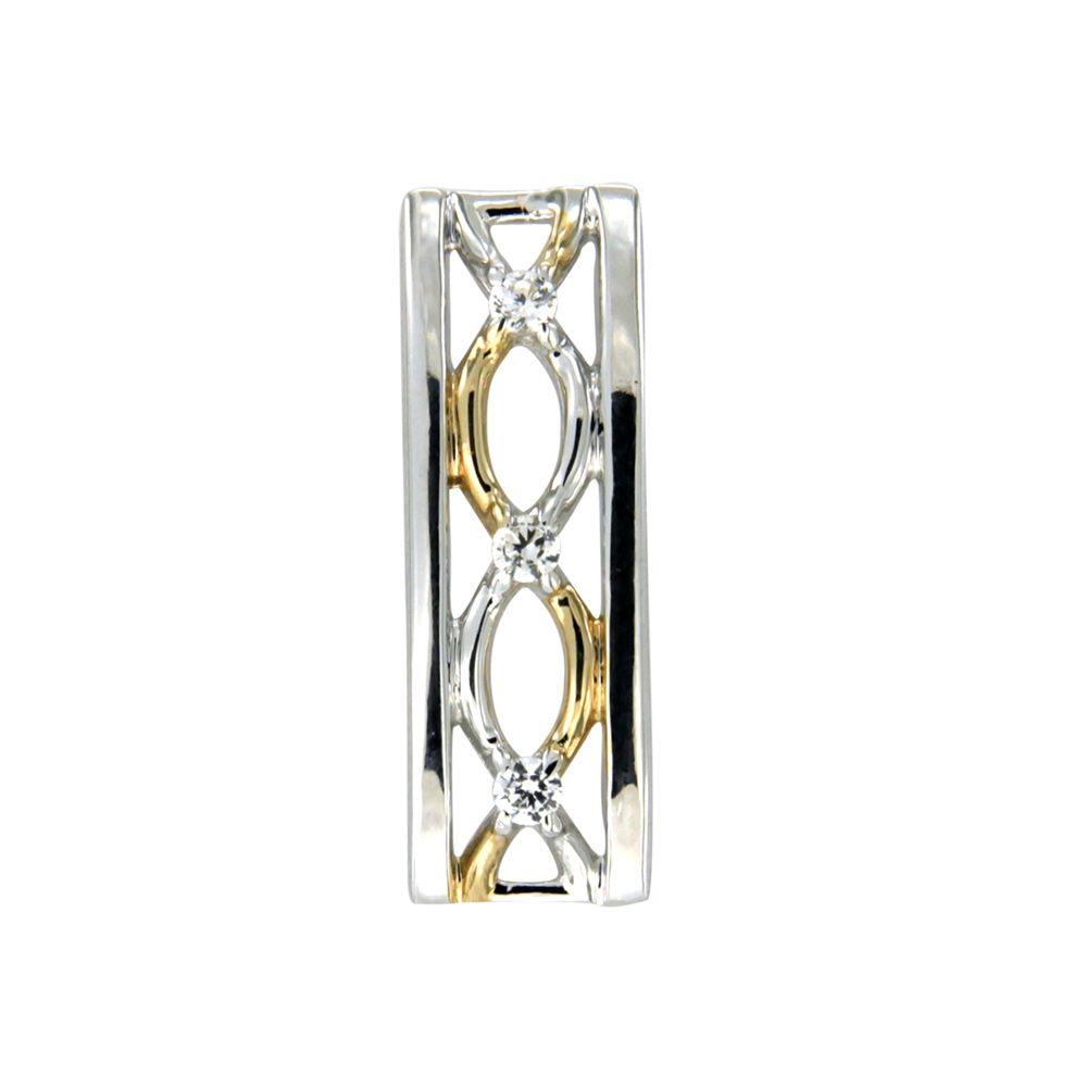 Swarovski - White Swarovski Crystal Elements and 925 Silver and Gold Rectangle Pendant