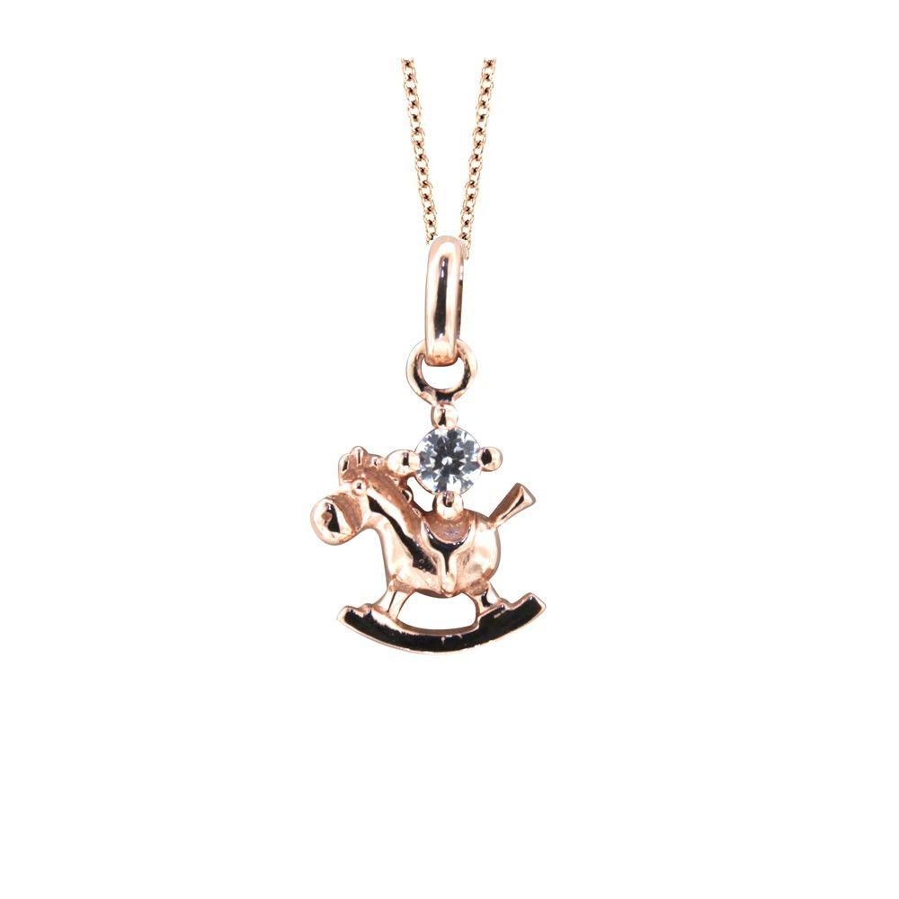 Swarovski - White Swarovski Elements Crystal and Rose Gold Plated rocking horse Children Pendant