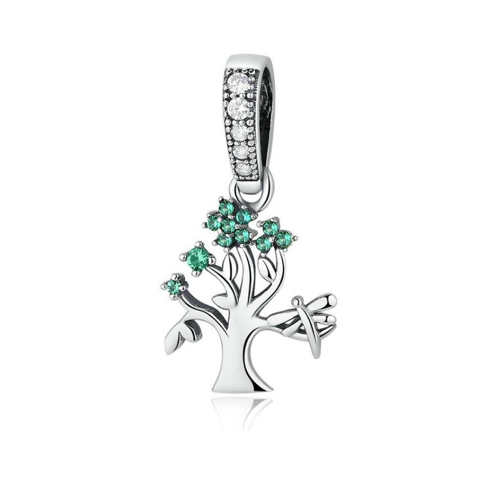 White and Green Crystals Tree of Life Pendant Charms bead