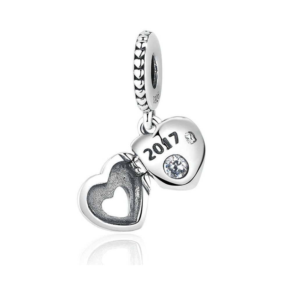 925 Silver Mother Heart Pendant Charms Bead925 Silver Heart Pendant Charms Bead