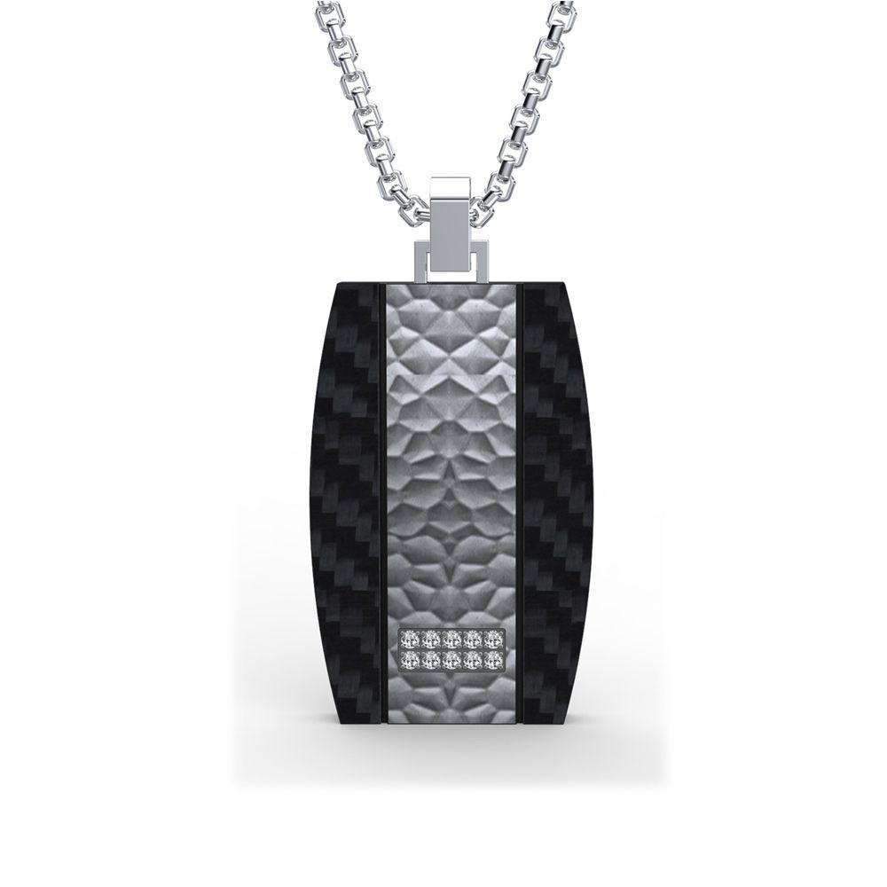 Black Carbon and Cubic Zirconia Stones Men Pendant