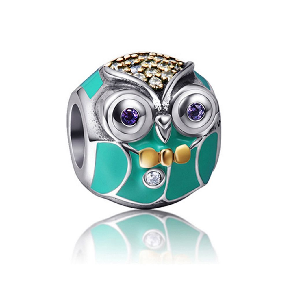 925 Silver Owl Charms bead