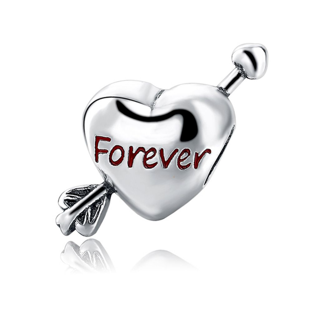 925 Silver Heart Forever Charms Bead