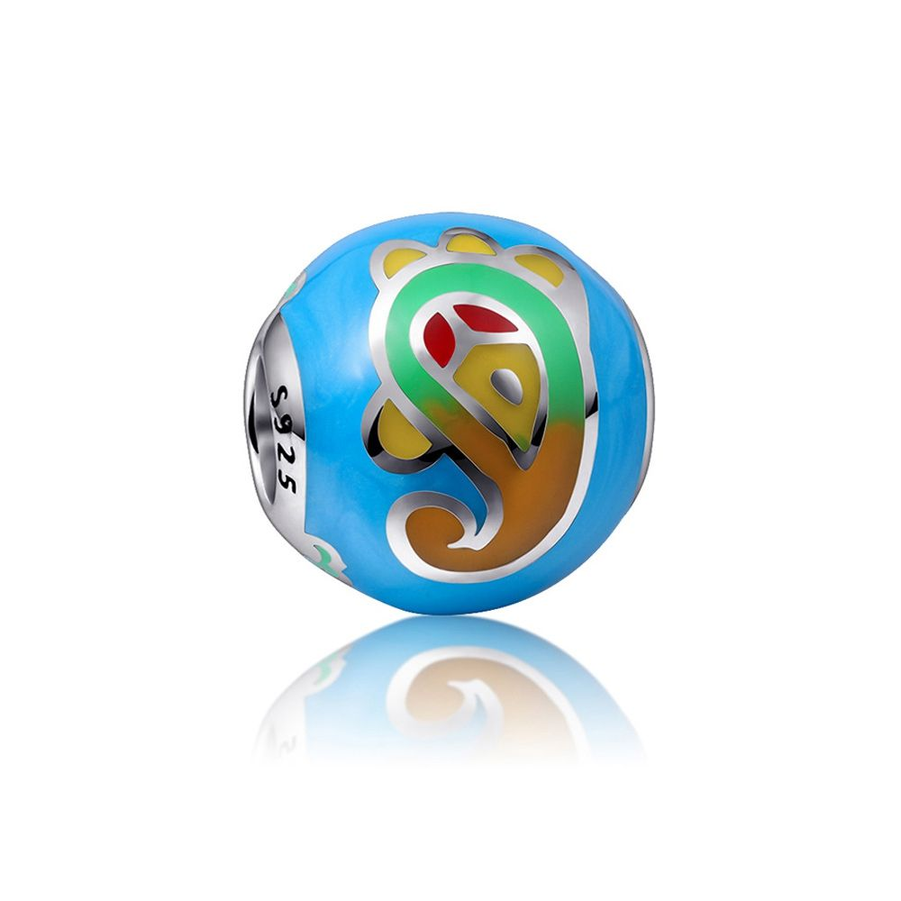 925 Silver and blue and multicolor enamel Charms bead