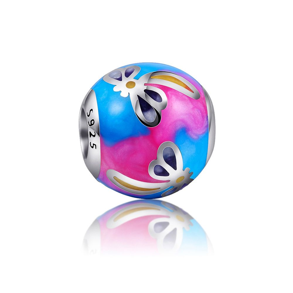 925 Silver and blue and pink enamel Charms bead