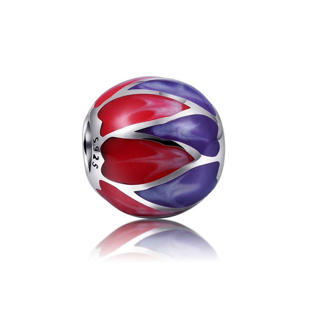 925 Silver Purple and Red enamel Charms bead