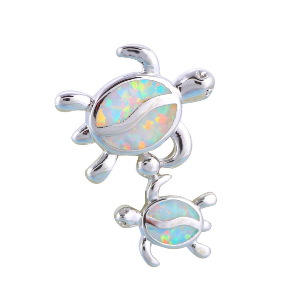 Opal Turtles Pendant and Silver Plated