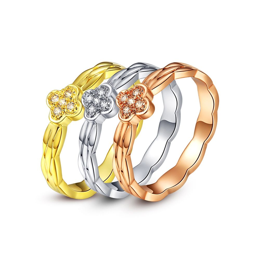 Swarovski - Ring 3 Solitaire Alliances 3 Golds and White Crystal of Swarovski Elements