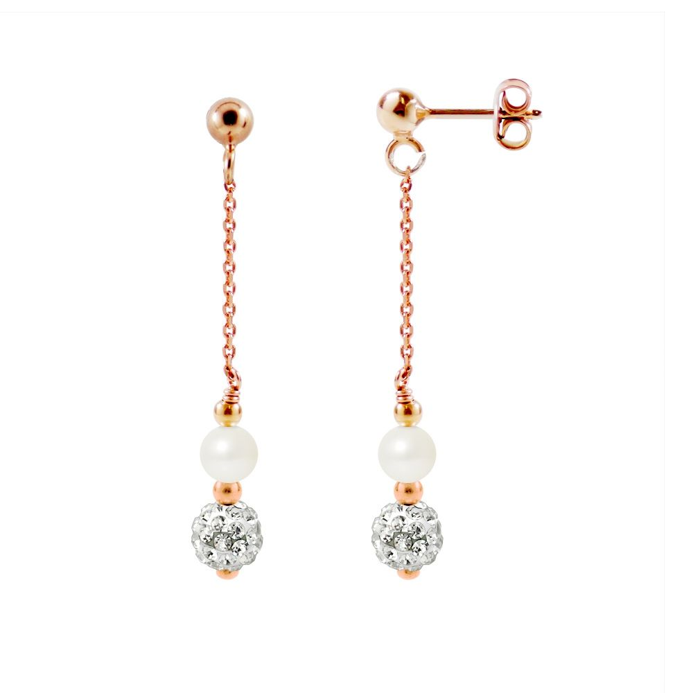 White Cultured Pearls, White Crystal and Rose Gold plated Dangling Earrings