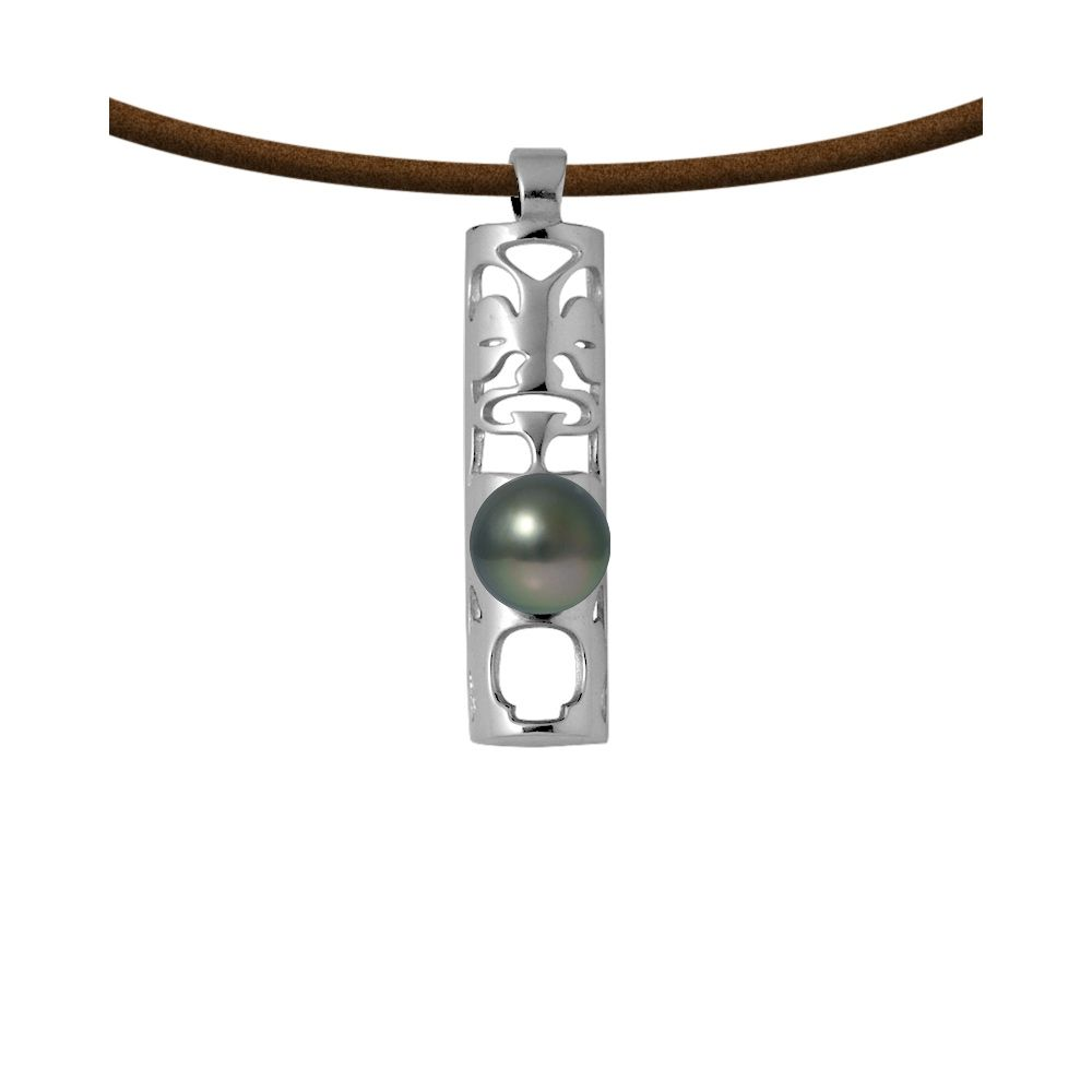 Tahitian Pearl Totem Tribal Leather Man Necklace and 925 Sterling Silver